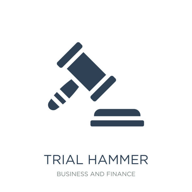 trial hammer icon vector on white background, trial hammer trend vector art illustration
