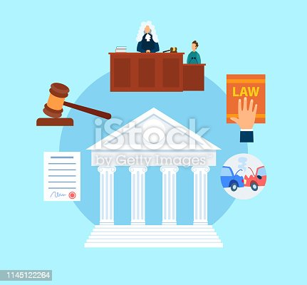 Trial Procedure Symbols Flat Vector Illustration. Magistrate in Court Cartoon Character. Witness Testimony. Lawyer, Attorney Hand on Legal Book. Auto, Life, Property Insurance. Supreme Courthouse