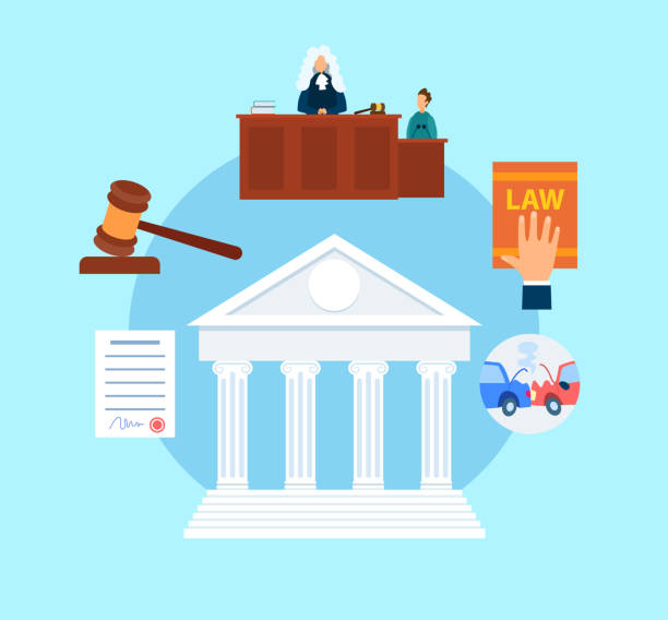 Trial Procedure Symbols Flat Vector Illustration Trial Procedure Symbols Flat Vector Illustration. Magistrate in Court Cartoon Character. Witness Testimony. Lawyer, Attorney Hand on Legal Book. Auto, Life, Property Insurance. Supreme Courthouse supreme court stock illustrations
