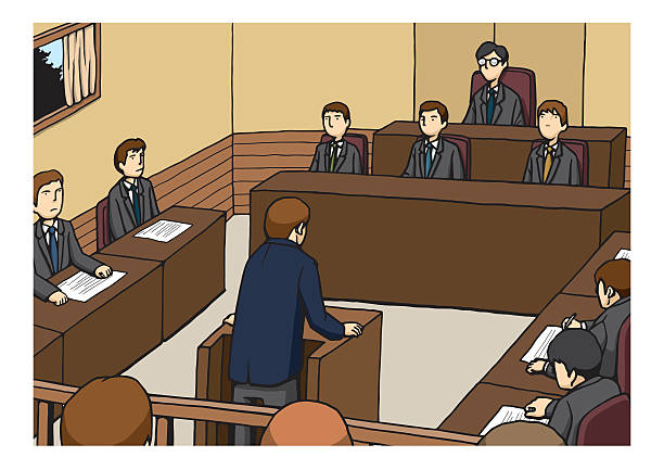 """Trial An image illustration of """"Trial"""". chief justice stock illustrations"""