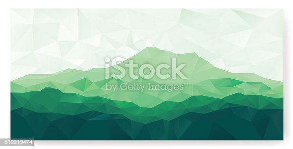 Triangle low poly polygonal background with green mountain range . Vector panorama.