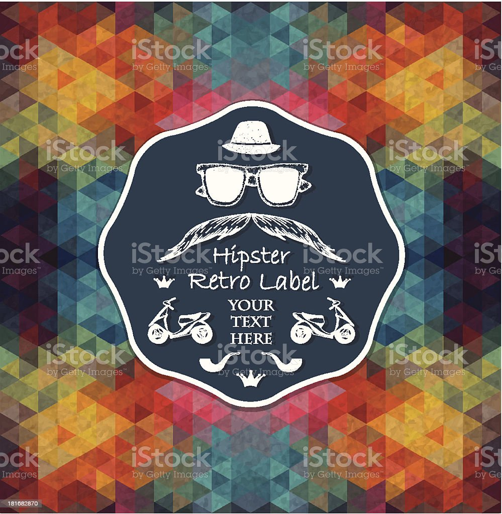 Triangle background with hipster label royalty-free stock vector art