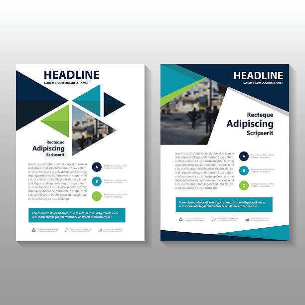 Triangle Blue green Vector annual report Leaflet Brochure Flyer template vector art illustration