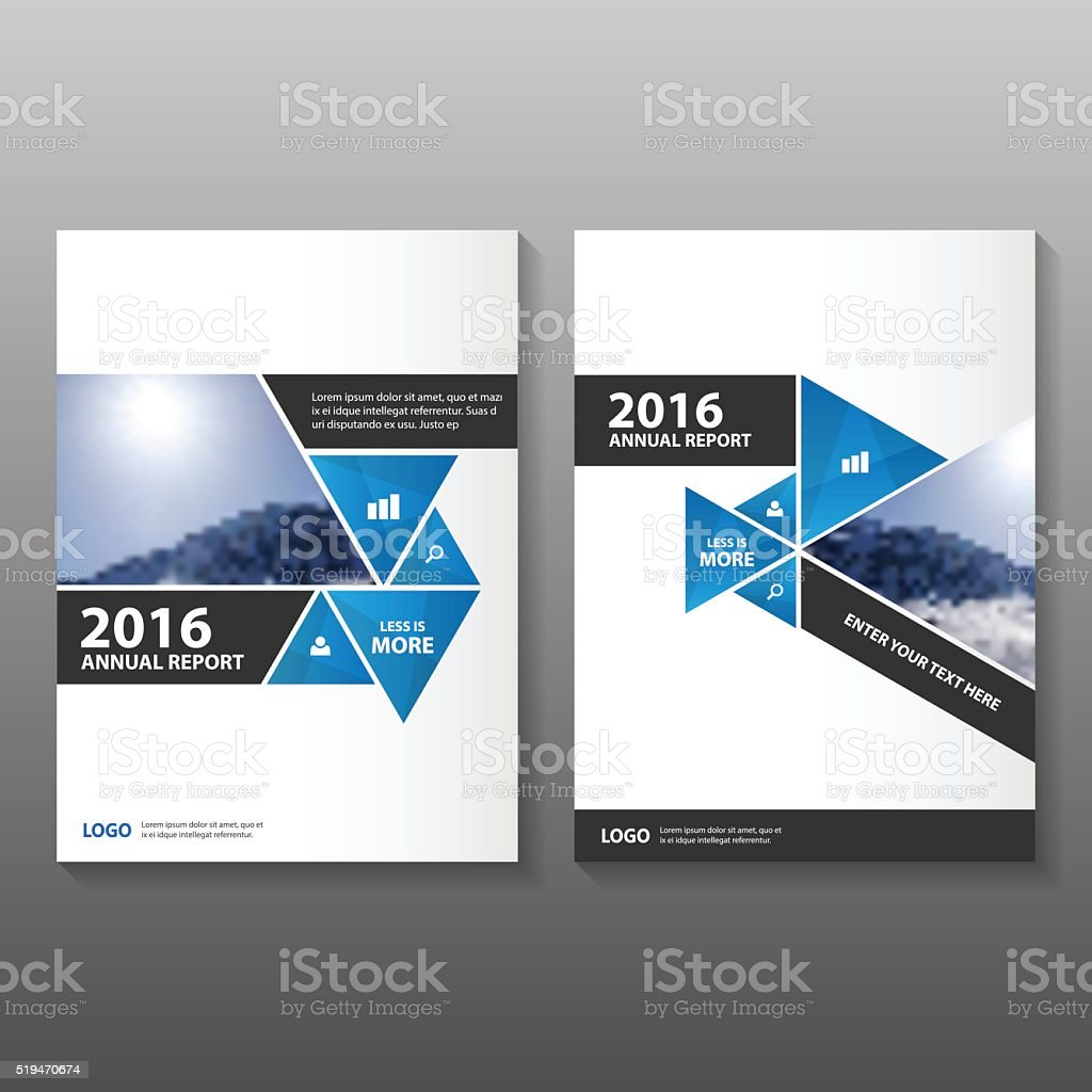 Triangle Blue Vector Annual Report Leaflet Brochure Flyer Template Design  Royalty Free Stock Vector Art