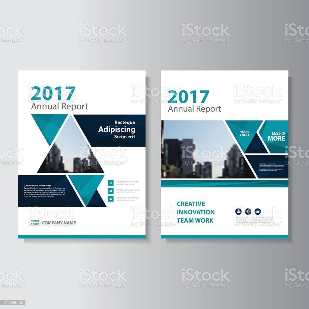 Blue Annual Report Brochure Design Vector Template For: Triangle Blue Vector Annual Report Leaflet Brochure Flyer
