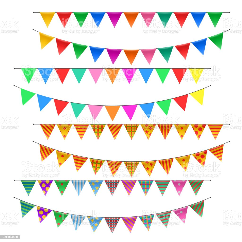 Triangle bunting flags set vector art illustration
