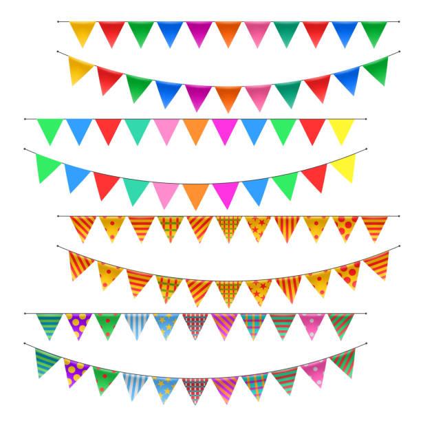 Triangle bunting flags set - ilustração de arte em vetor