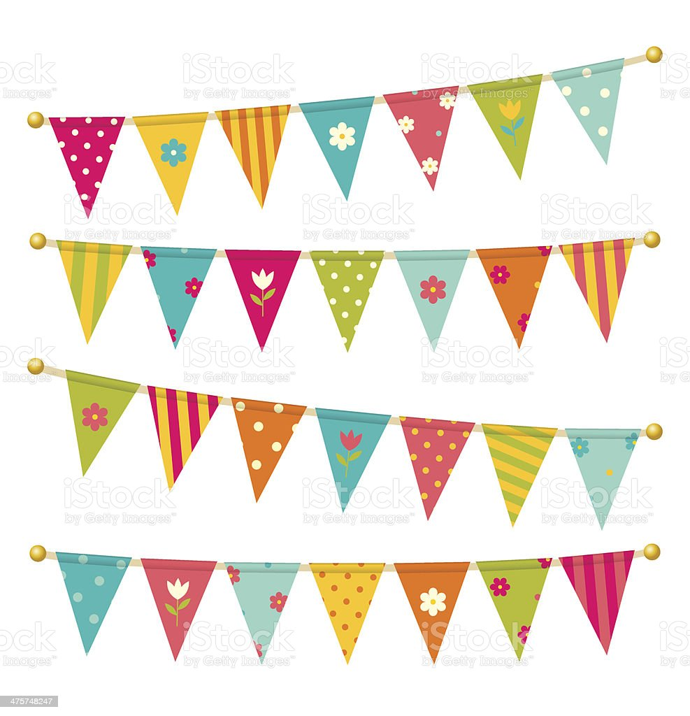 Triangle bunting flags with flowers vector art illustration