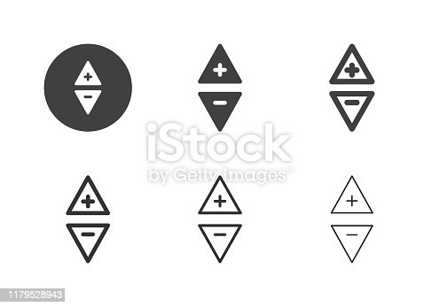 Triangle Button Icons Multi Series Vector EPS File.