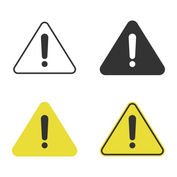 Triangle Caution and Warning Icon Set Vector Design. Scalable to any size. Vector Illustration EPS 10 File. safety stock illustrations