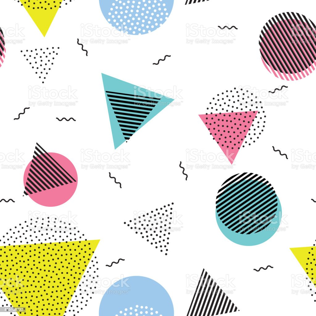 Triangle circle abstract geometric vector seamless pattern background wallpaper vector art illustration