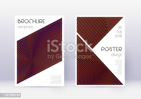 Triangle cover design template set. Orange abstract lines on wine red background. Imaginative cover design. Alluring catalog, poster, book template etc.