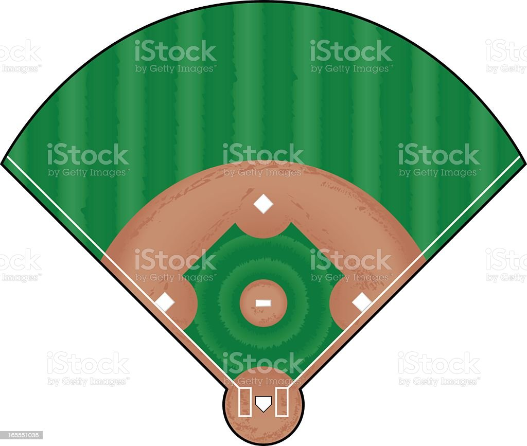 A triangle cut out of a baseball field royalty-free stock vector art
