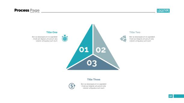triangle diagram slide template - triangle shape stock illustrations