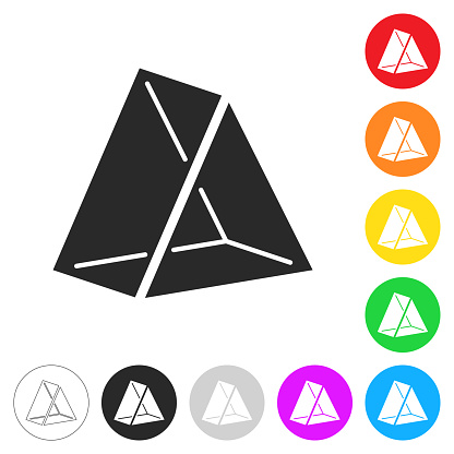 3D Triangle. Flat icons on buttons in different colors