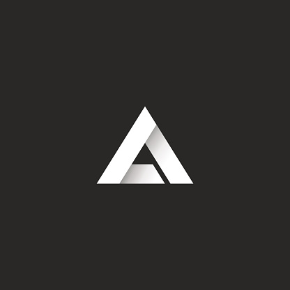 Triangle gradient white stripe style, sharp corner geometric overlapping shape, idea abstract letter A or delta symbol emblem