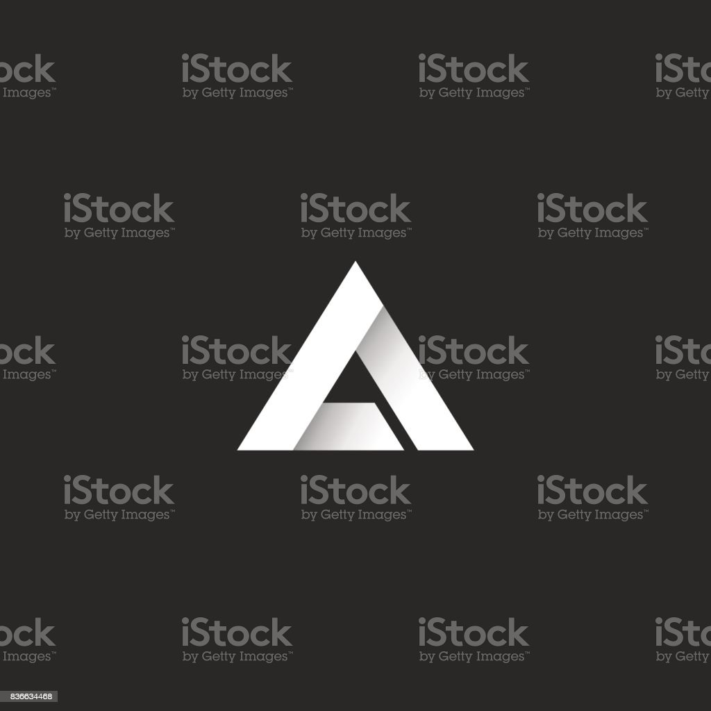 Üçgen degrade beyaz şerit stili, keskin köşe geometrik çakışan şekil, fikir soyut harf A veya delta sembolü amblemi vektör sanat illüstrasyonu