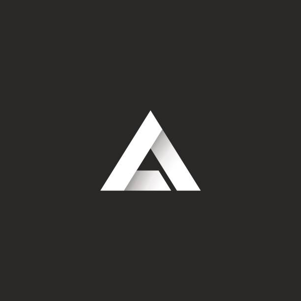 triangle gradient white stripe style, sharp corner geometric overlapping shape, idea abstract letter a or delta symbol emblem - alphabet symbols stock illustrations