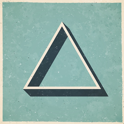 Triangle. Icon in retro vintage style - Old textured paper