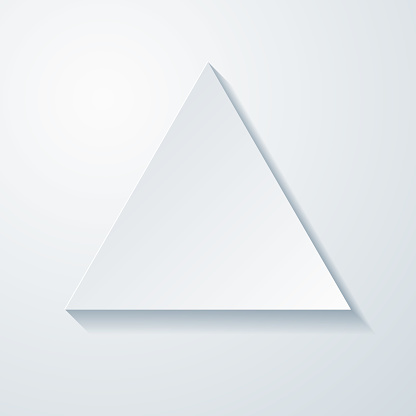 Triangle. Icon with paper cut effect on blank background
