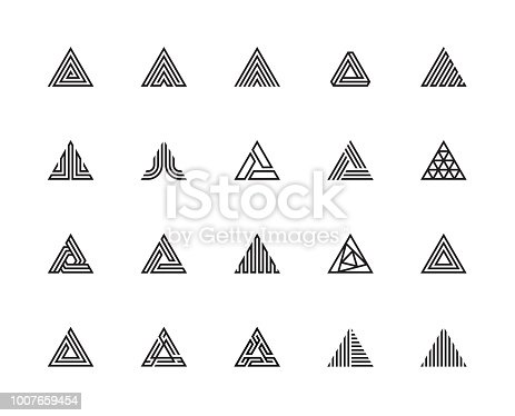 Geometric Shape, Triangle, Three, Logo, Design Concept, Creative Symbol, High Quality, Icon, Vector and Illustration
