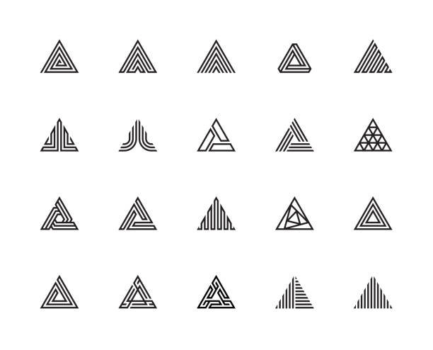 Triangle Icons Geometric Shape, Triangle, Three, Logo, Design Concept, Creative Symbol, High Quality, Icon, Vector and Illustration triangle shape stock illustrations