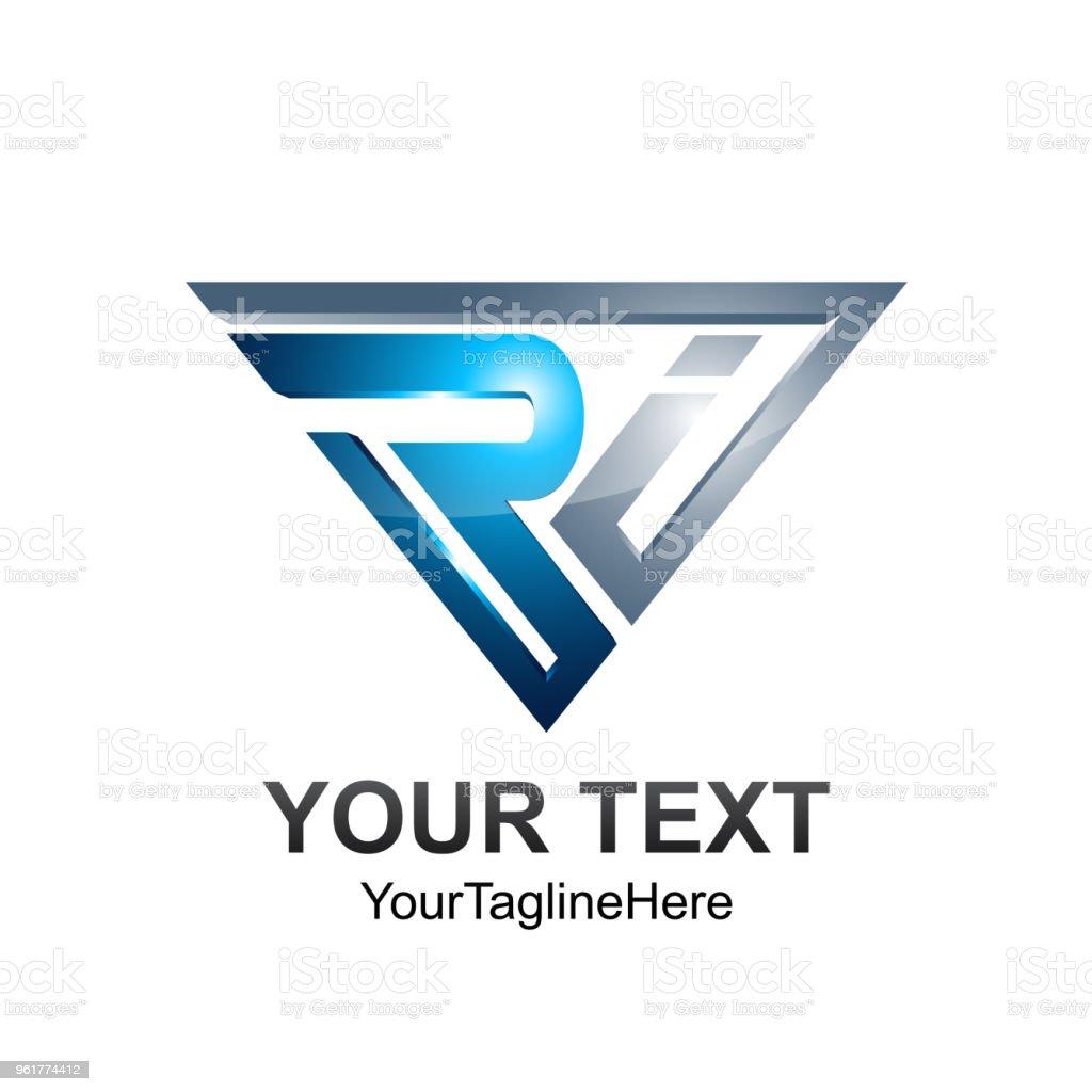 3d トライアングル手紙初期 ri アルファベットのロゴ デザイン