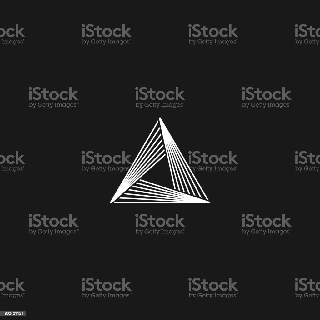 Triangle  linear infinity geometric pyramid shape, black and white overlapping thin lines hipster monogram minimal style infinite icon vector art illustration