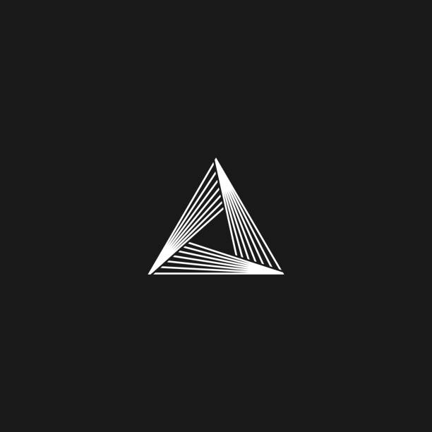 triangle  linear infinity geometric pyramid shape, black and white overlapping thin lines hipster monogram minimal style infinite icon - пирамида stock illustrations