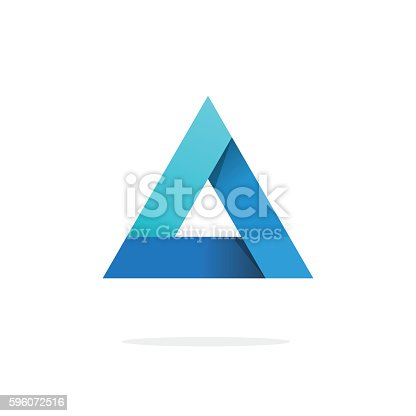 istock Triangle logo with strict corners vector isolated on white background 596072516