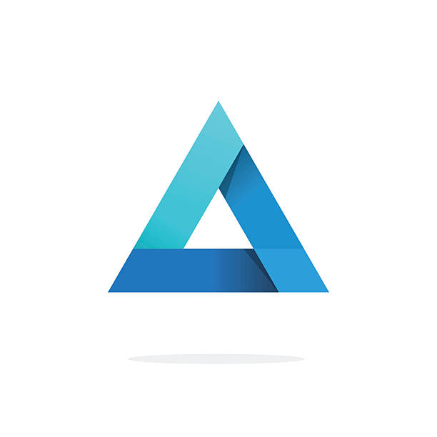 Triangle logo with strict corners vector isolated on white background Triangle logo with strict strong corners vector isolated on white background, blue gradient glossy abstract triangle logotype element with shadow, creative geometric figure design triangle shape stock illustrations