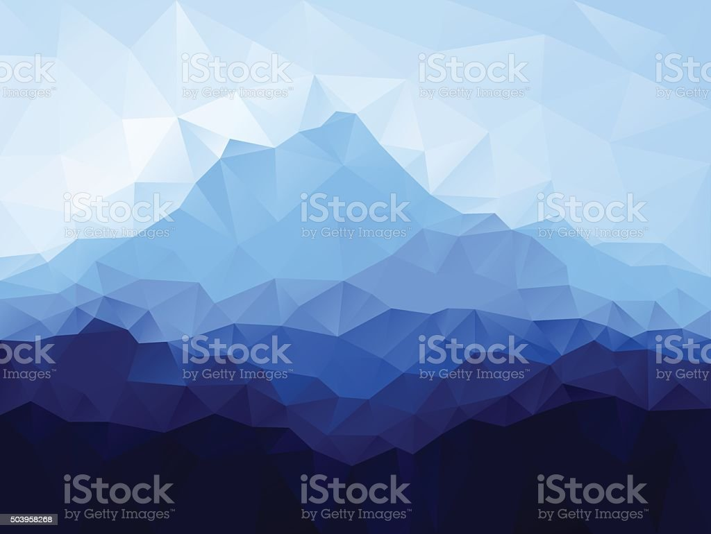 Triangle low poly geometrical background with blue mountain vector art illustration