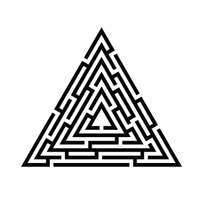 Triangle maze, labyrinth icon. Business concept. Vector illustration.