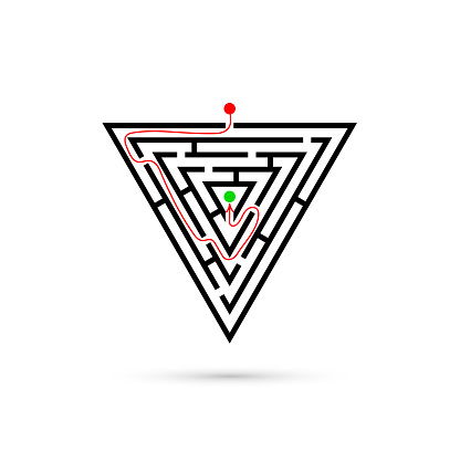 Triangle maze with way to center. Business confusion and solution concept. Flat design. Vector illustration isolated on white background