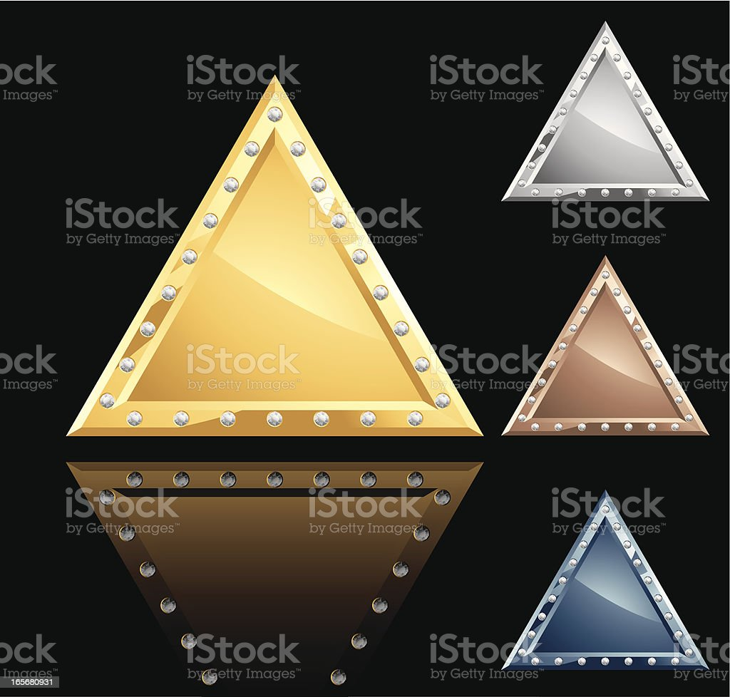 Triangle Metal Plate with Diamonds royalty-free stock vector art