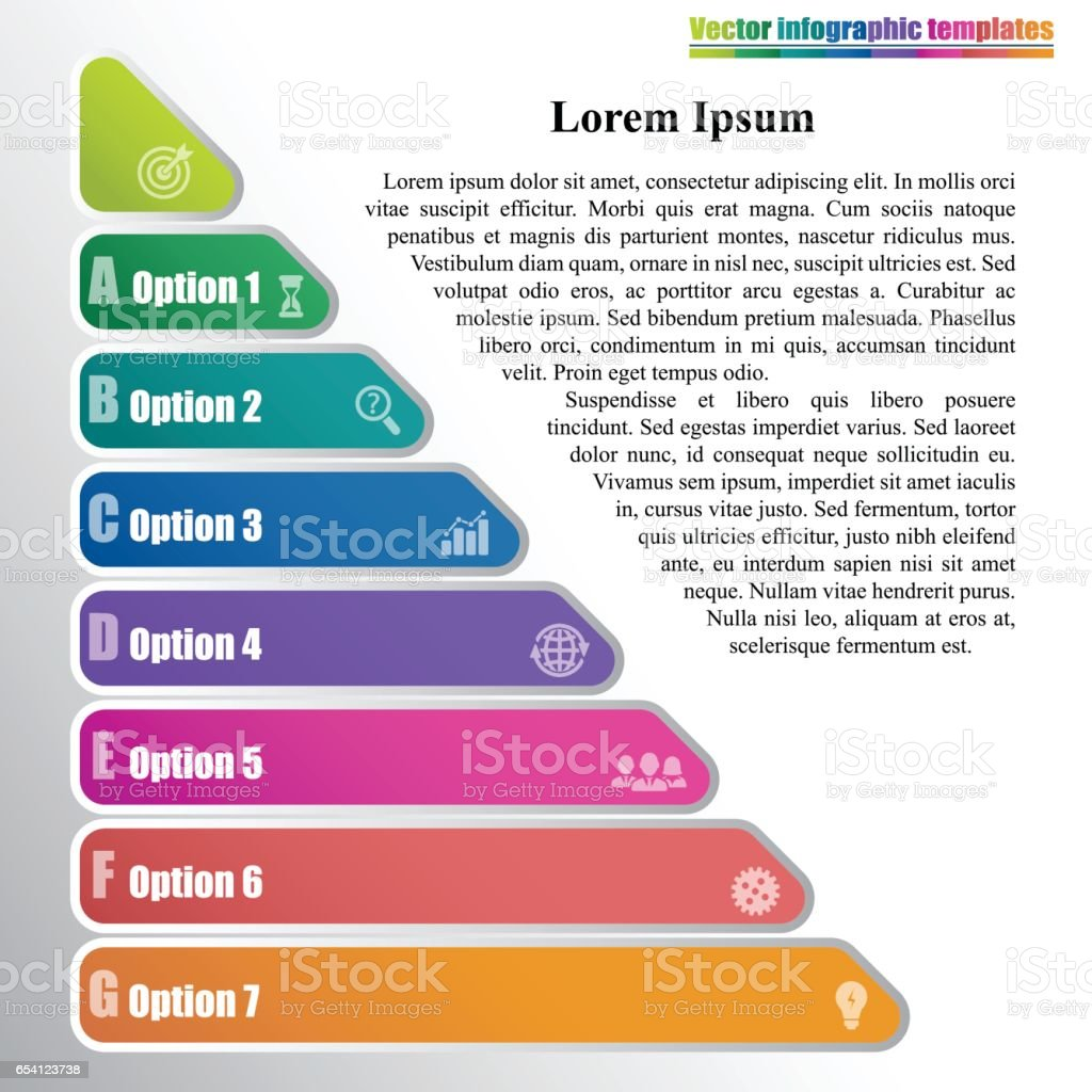 Triangle Pyramid Infographic Template With 7 Steps Stock Vector Art
