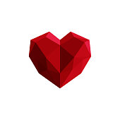 Vector illustration of triangle red heart.