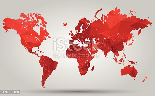 Triangle Red World Map . Vector illustration