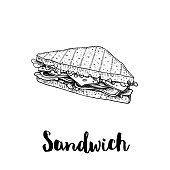 Triangle sandwich with lettuce, ham, cheese and tomato slices. Hand drawn sketch style. Grilled bread. Fast food drawing for restaurant menu and street food package. Vector illustration. EPS10 + JPEG preview.