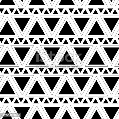istock Triangle seamless pattern. Geometric pattern black color. Abstract background with triangles. Vector illustration. Trendy repeating texture. 1255169435