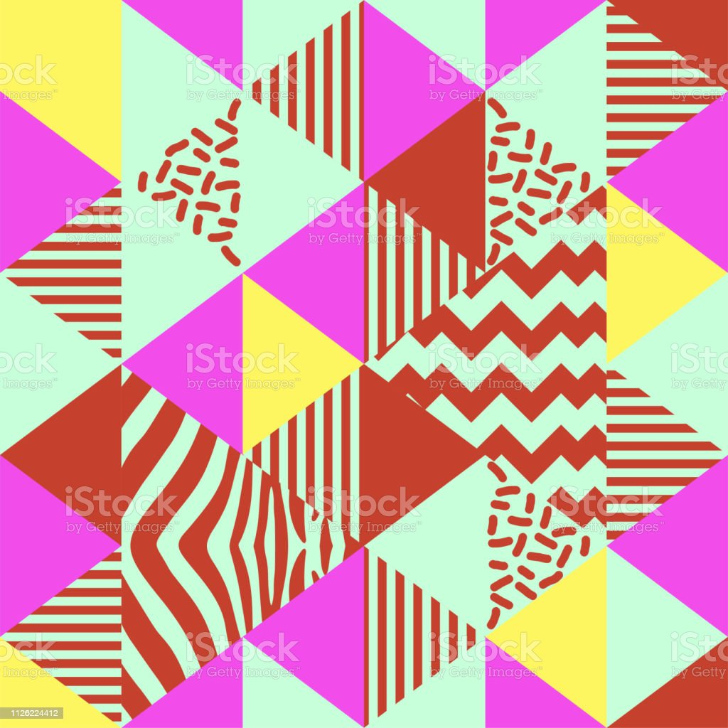 Triangle Seamless Pattern With Retro Art 90s Trendy Colorful