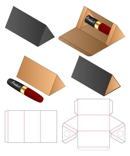 triangle shape Paper Bag packaging diecut template vector art illustration