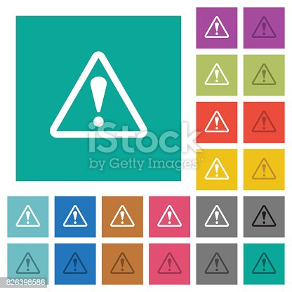 istock Triangle shaped warning sign square flat multi colored icons 826398586