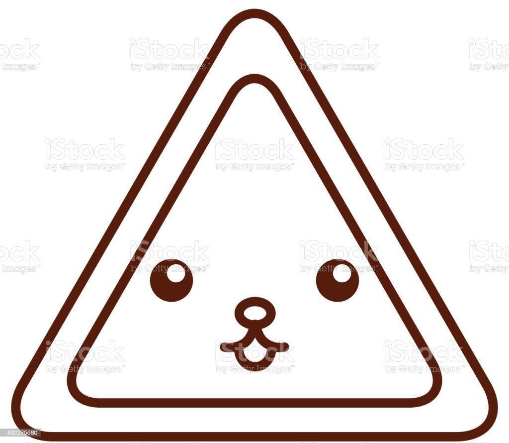 Ilustración de Carácter De Triángulo Señal Kawaii y más banco de ...