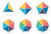 Triangle, square, pentagon, hexagon, heptagon, octagon for infographics with circular arrows Vector design elements