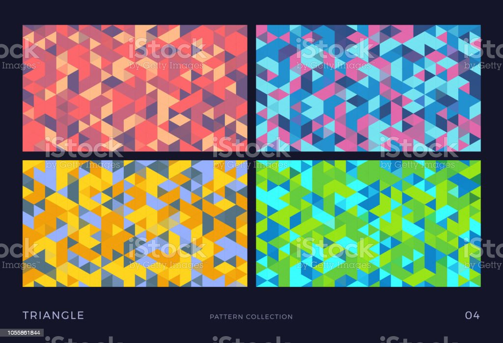 Triangle Vector Mosaic Backgrounds Set Colorful Abstract Polygon Patterns Stock Illustration Download Image Now