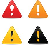 Triangle warning icon exclamation mark sign web internet button