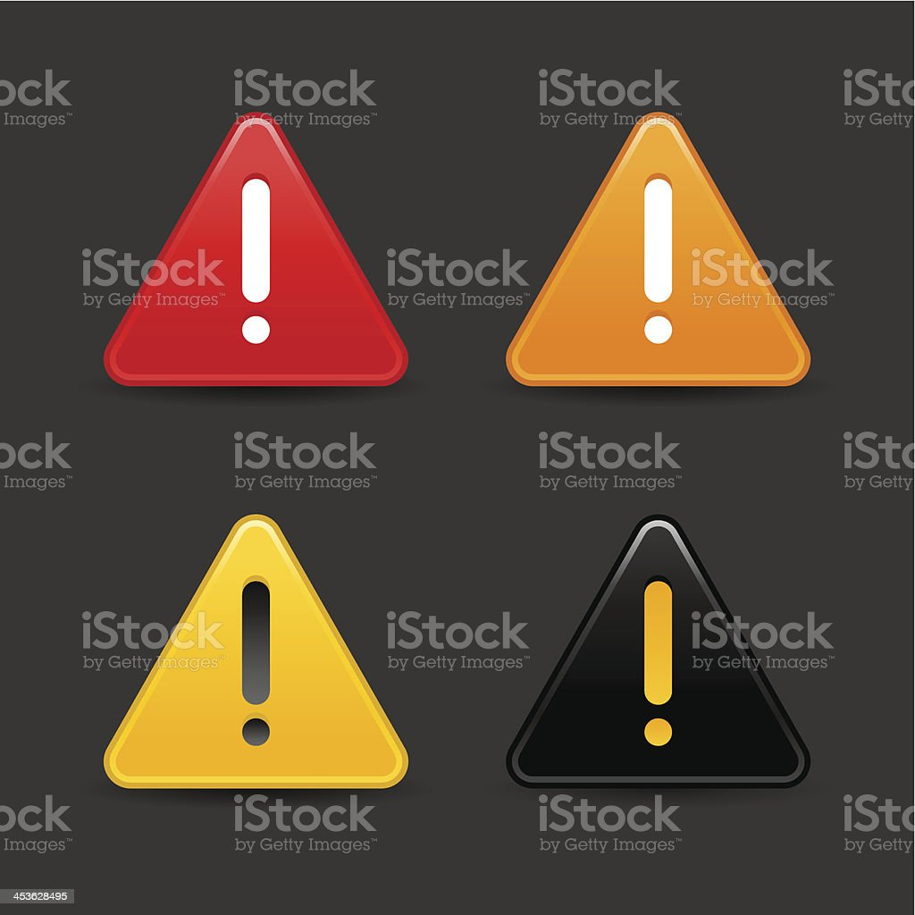 Triangle warning icon white exclamation mark sign gray background royalty-free stock vector art