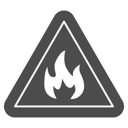 Triangle with fire symbol solid icon. Flammable caution sign glyph style pictogram on white background. Fire warning sign for mobile concept and web design. Vector graphics.