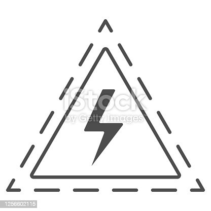 istock Triangle with lightning thin line icon, science concept, Danger high voltage attention sign on white background, warning sign with lightning in outline style for mobile, web. Vector graphics. 1256602115